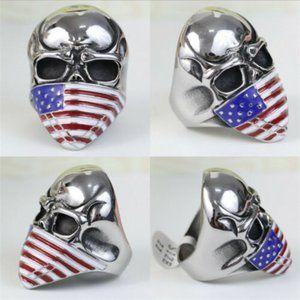 Stainless Steel Skull and American Flag Biker Ring